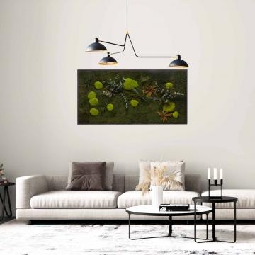 Moosbild Gigant Pflanze 150 x 75 cm auf Holzfaserplatte anthrazit