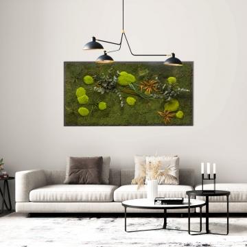 Moosbild Pflanze 182 x 82,5 cm auf Holzfaserplatte anthrazit