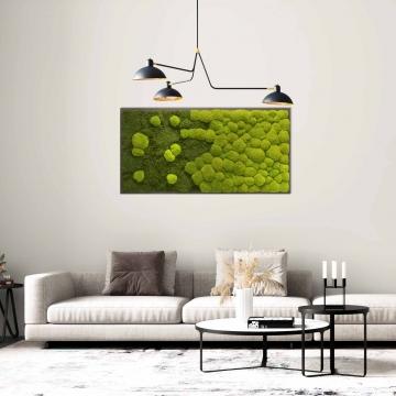 Moosbild Verlauf mit Wald- und Ballenmoos 150 x 75 cm auf Holzfaserplatte anthrazit