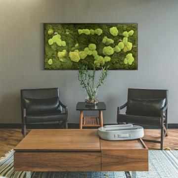 Moosbild Waldmoos & Kugelmoos 182 x 82,5 cm auf Holzfaserplatte anthrazit