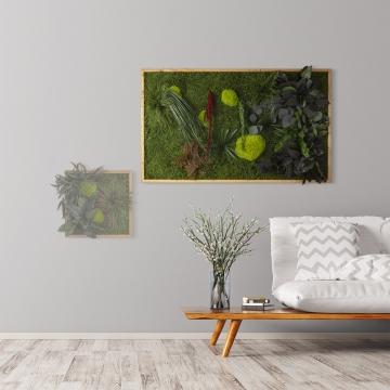 Moosbild ´Pflanze´ 100 x 60 cm mit Rahmen aus geölter Eiche