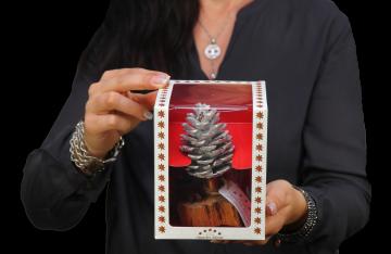 Oppacher Räucherbaum / Räuchermännchen creme weiß  [Größe des Baumes ca. 15x10cm] (12 Stück)