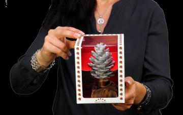 Oppacher Räucherbaum / Räuchermännchen Creme Weiß mit Glitter ( Größe des Baumes ca. 15x10cm ) (12 Stück)