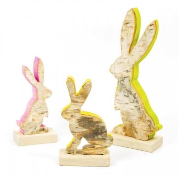 Deko Figur Set Nr. 12 / Hase  stehend mit gefärbten Schnittkanten aus Birkenholz ( 3 Stück )