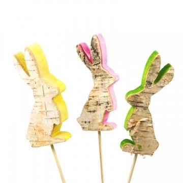 Rindenholz Deko Stecker Hase mit farbiger Schnittkante ( ca. 12cm hoch - Set mit 3 Stück ) (3 Stück)