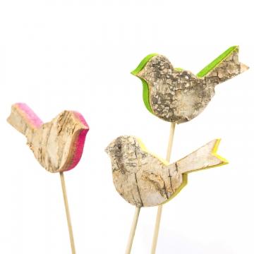 Rindenholz Deko Stecker Set Vogel mit farbiger Schnittkante ( ca. 5cm hoch und 8cm breit - Set mit 3 Stück ) (3 Stück)