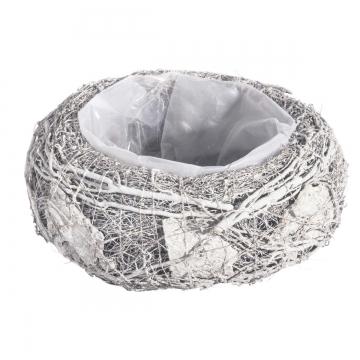 Pflanzgefäße Schale aus Rindenstücken [ Ø21cm H8cm] in Stonewashed mit Pflanzfolie (9 Stück)