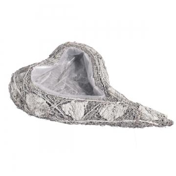 Pflanzgefäße Herz geschwungen aus Rindenstücken [29x45x8cm] in Stonewashed mit Pflanzfolie (9 Stück)