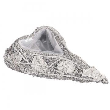Pflanzgefäße Herz geschwungen aus Rindenstücken [24x37x7cm] in Stonewashed mit Pflanzfolie (18 Stück)