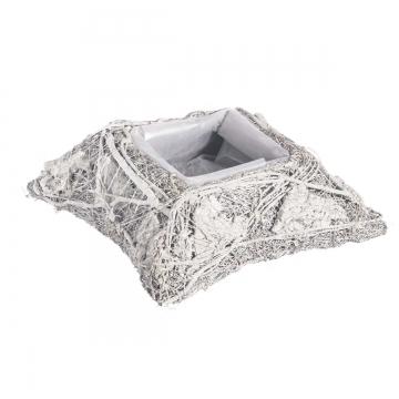 Pflanzgefäß Kissen aus Rindenstücken [ Ø25cm H9cm] in Stonewashed mit Pflanzfolie (9 Stück)