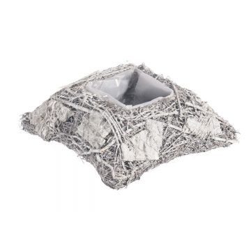 Pflanzgefäß Kissen aus Rindenstücken [ Ø20cm H8cm] in Stonewashed mit Pflanzfolie (18 Stück)