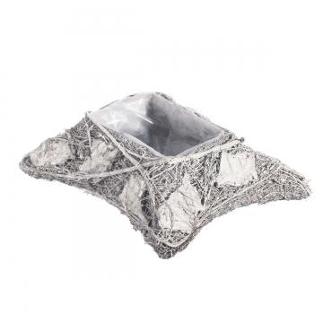 Pflanzgefäß Kissen länglich aus Rindenstücken [32x23x9cm] in Stonewashed mit Pflanzfolie (9 Stück)