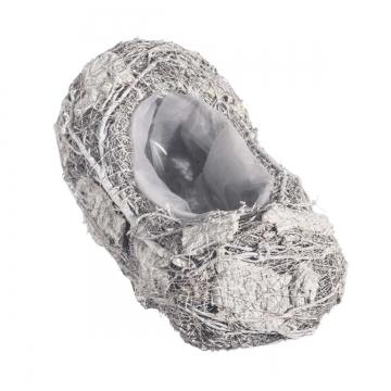 Pflanzgefäß Schiff aus Rindenstücken [ 26x12x11cm] in Stonewashed mit Pflanzfolie