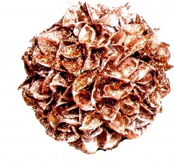 Baumwollfrucht Kugel gewachst in Kupfer Glitter ( Ø 22cm )