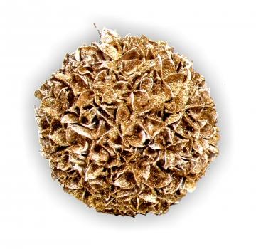 Baumwollfrucht Kugel gewachst in Gold Glitter ( Ø 22cm )