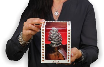 Oppacher Räucherbaum / Räuchermännchen creme weiß  [Größe des Baumes ca. 15x10cm]