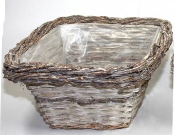 Weiden Pflanzkorb eckig [30x30cm H17cm] in Stonewashed bicolor mit Pflanzfolie