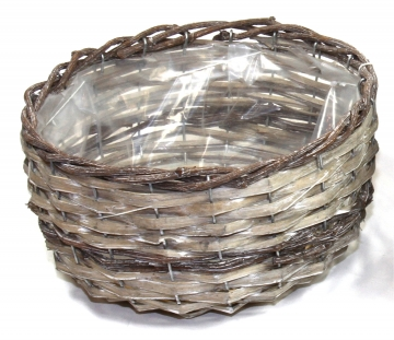 Weiden Pflanzkorb rund [Ø 25cm H13cm] in Stonewashed bicolor mit Pflanzfolie