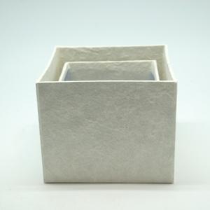 Blumen Boxx 2er Set in Weiß mit Folie innen [10x10x12cm + 8x8x10cm]