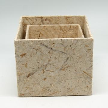 Blumen Boxx 2er Set in Natur mit Folie innen ( 10x10x12cm + 8x8x10cm )