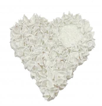 Baumwollfrucht Herz gewachst in Creme Weiß Ø 25cm