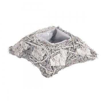 Pflanzgefäß Kissen aus Rindenstücken [ Ø20cm H8cm] in Stonewashed mit Pflanzfolie