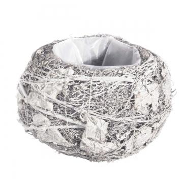 Pflanzgefäß Topf aus Rindenstücken [ Ø20cm H14cm] in Stonewashed mit Pflanzfolie