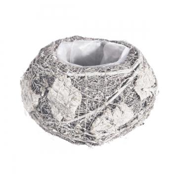 Pflanzgefäß Topf aus Rindenstücken [ Ø16cm H12cm] in Stonewashed mit Pflanzfolie