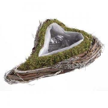 Pflanzgefäss Herz aus Moos und Rebe groß mit Pflanzfolie  [26x36x9cm]