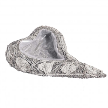Pflanzgefäße Herz geschwungen aus Rindenstücken [29x45x8cm] in Stonewashed mit Pflanzfolie