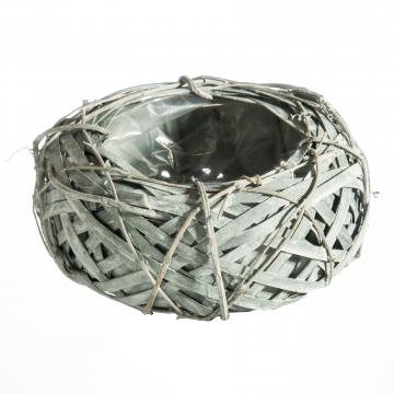Rebentopf ´Style´ rund Ø 20cm H8,5cm in Grau mit Pflanzfolie