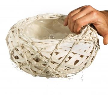 Rebentopf ´Style´ rund in Weiß mit Pflanzfolie ( Ø 25cm H 12cm )