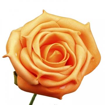 Schaumrose mit Stiel in Orange Kopfgröße 8cm (24 Stk./Pck.)