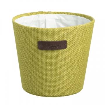 Jute Topf ´Flower´ in Grün mit Pflanzenfolie [ Ø18cm ]