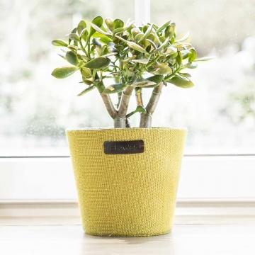 Jute Topf ´Flower´ in Grün mit Pflanzenfolie ( Ø18cm )