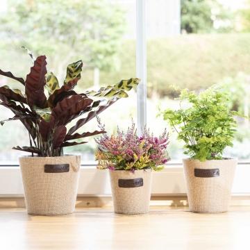 Jute Blumen Dekotopf ´Flower´ 3er Set in Natur mit Pflanzenfolie ( Ø12,5 / Ø15 / Ø18cm )