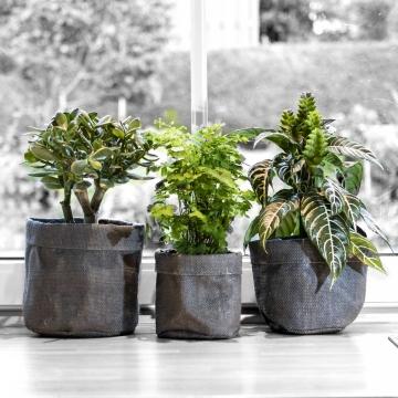 Jute Pflanzgefäß Dekosack 3er Set in Dunkelgrau mit Pflanzenfolie ( Ø12,5 / Ø15 / Ø18cm )
