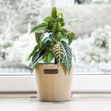 Jute Topf ´Flower´ in Natur mit Pflanzenfolie ( Ø18cm )