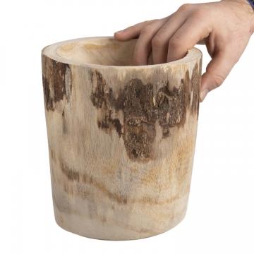 Pflanzenvase aus Paulowina Holz gerade S [ ca. Ø 19cm H 20cm ] in Naturhell mit Folie