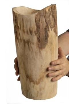 Pflanzenvase aus Paulowina Holz hoch L [ ca. Ø 23cm H 51cm ] in Naturhell mit Folie
