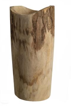 Pflanzenvase aus Paulowina Holz hoch M [ ca. Ø18cm H 39cm ] in Naturhell mit Folie