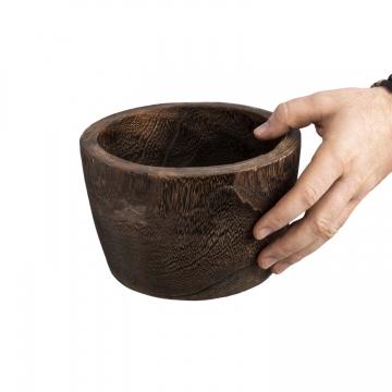 Deko Holztopf Typ ´Wenge´ gerade S [ Ø 19cm H 13cm ]