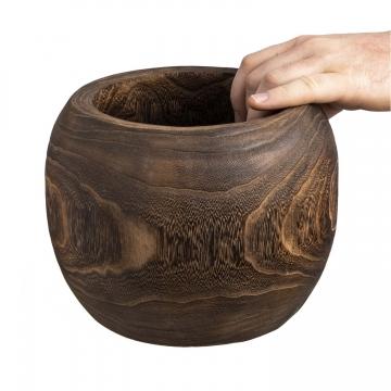 Deko Holztopf Typ ´Wenge´ rund S [ Ø 13,5cm H 12,5cm ]