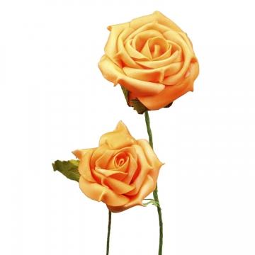 Schaumrose mit Stiel in Orange Kopfgröße 6cm (24 Stk./Pck.) (30 Stück)