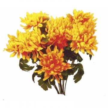 Chrysanthemen Kunststrauß in Kupfer (12 Stück)