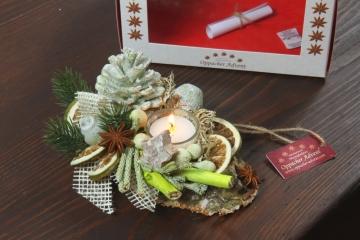 Oppacher Kerzen-Tischgesteck Classic in grün light