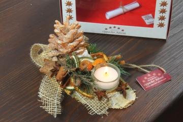 Oppacher Kerzen-Tischgesteck classic in orange