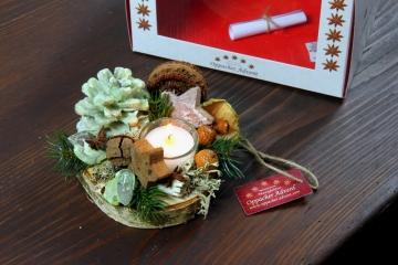 Oppacher Kerzen-Tischgesteck Deluxe in grün light