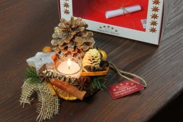Oppacher Kerzen-Tischgesteck Deluxe in Natur
