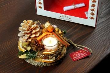 Oppacher Kerzen-Tischgesteck Deluxe in orange